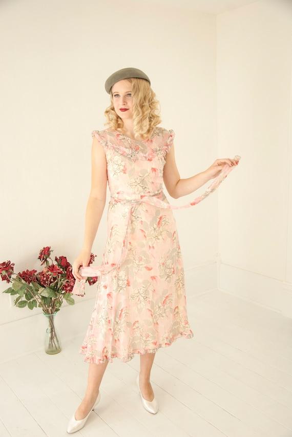 Vintage pink floral 1920s dress, sleeveless sheer