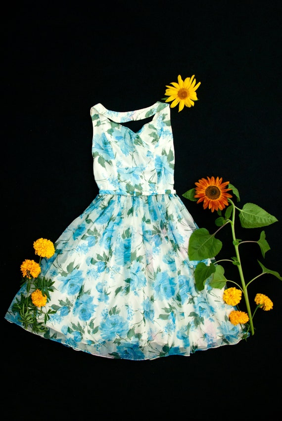 Vintage 1950s turquoise floral dress, strapless wh