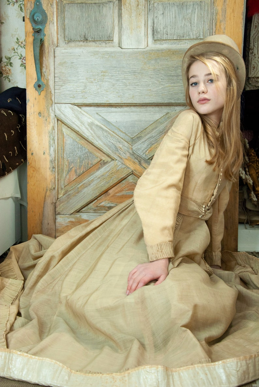 Antique beige dress long sleeve Victorian ivory cream tan image 0