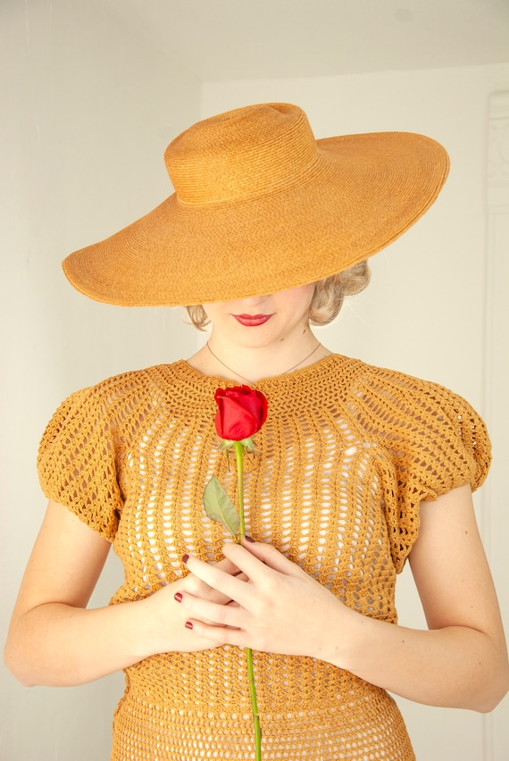 Vintage 1930s straw sun hat, woven natural wheat … - image 7