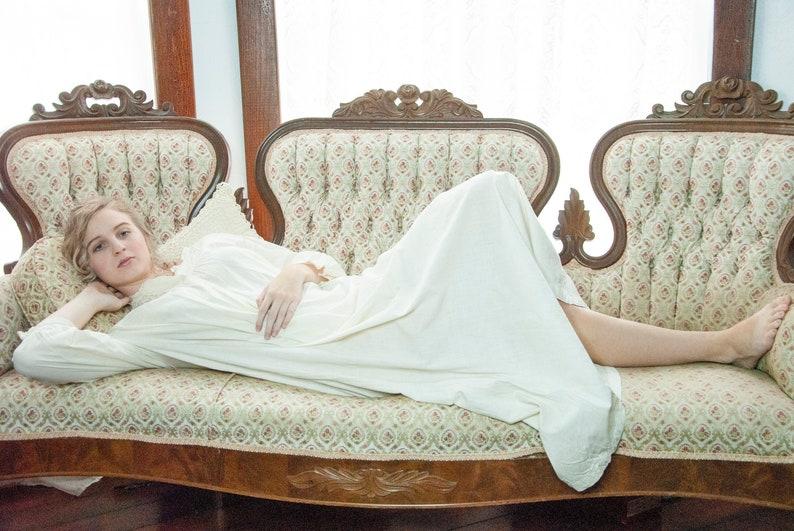 White Victorian nightgown long sleeve full-length sleep dress image 0