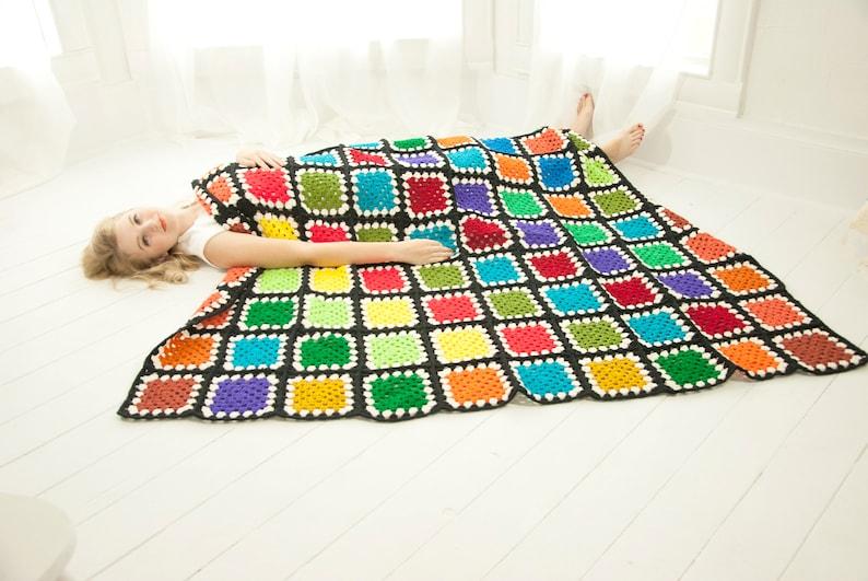 Vintage Tetris afghan solid rainbow squares geometric granny image 0