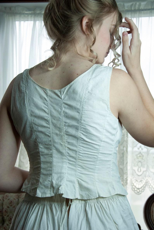 White Victorian camisole vintage antique lingerie 1800s XS buttons cotton bra chemise bodice longline sleeveless top