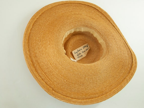 Vintage 1930s straw sun hat, woven natural wheat … - image 10