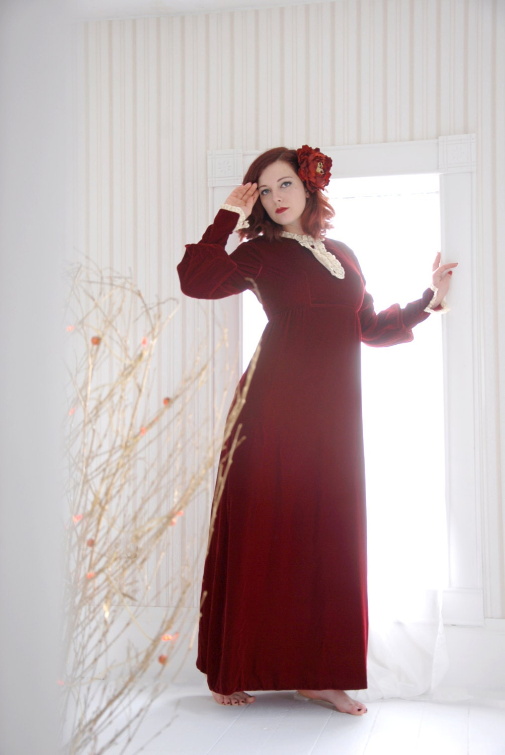 b3d00036be787 Vintage red velvet maxi dress gown