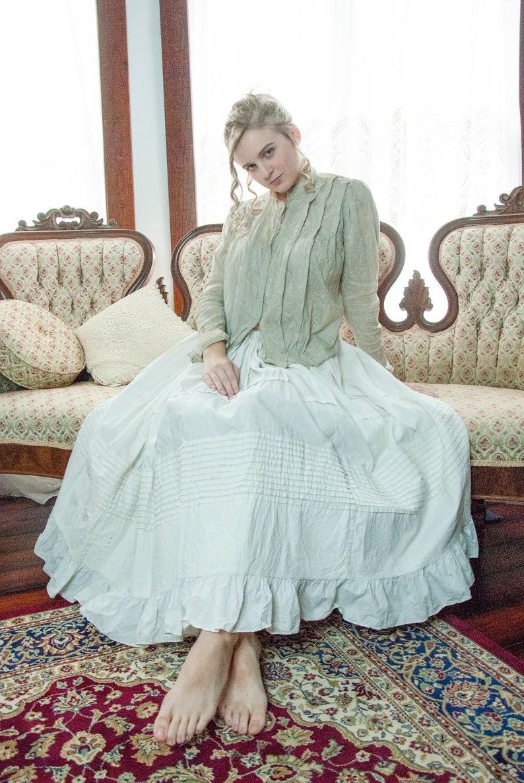 Gray Edwardian blouse light jacquard long sleeve ivory lace image 0