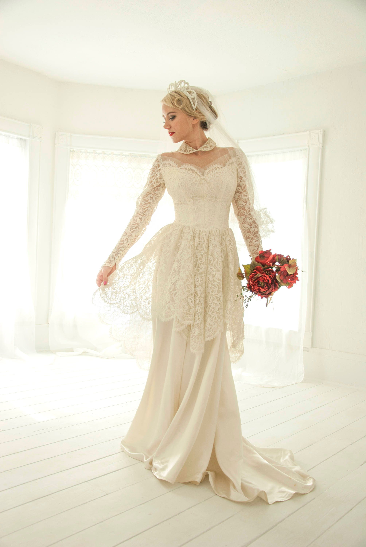 Vintage Illusion Wedding Dress Peter Pan Collar Floral Lace Etsy