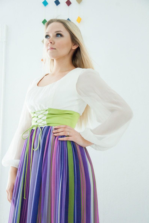 5b5d5ecb778d Vintage striped peasant dress purple white chiffon sheer long