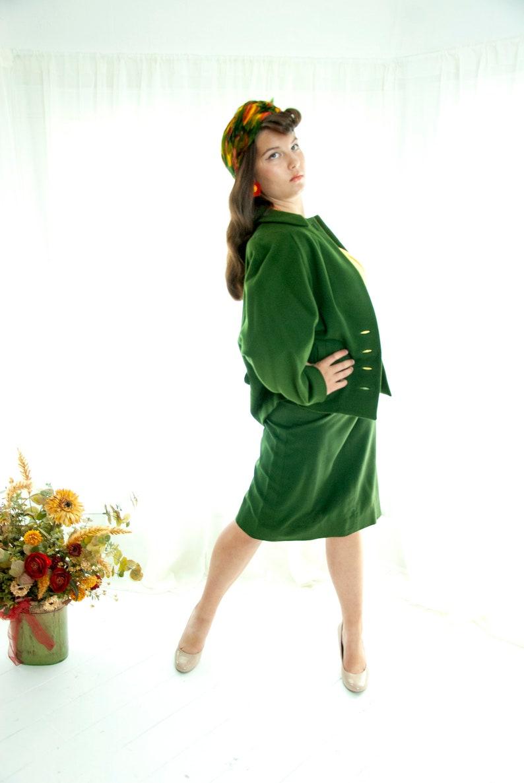 two piece skirt long dolman sleeves L Vintage 1950s green suit dark pine army high-waist pencil wool jacket