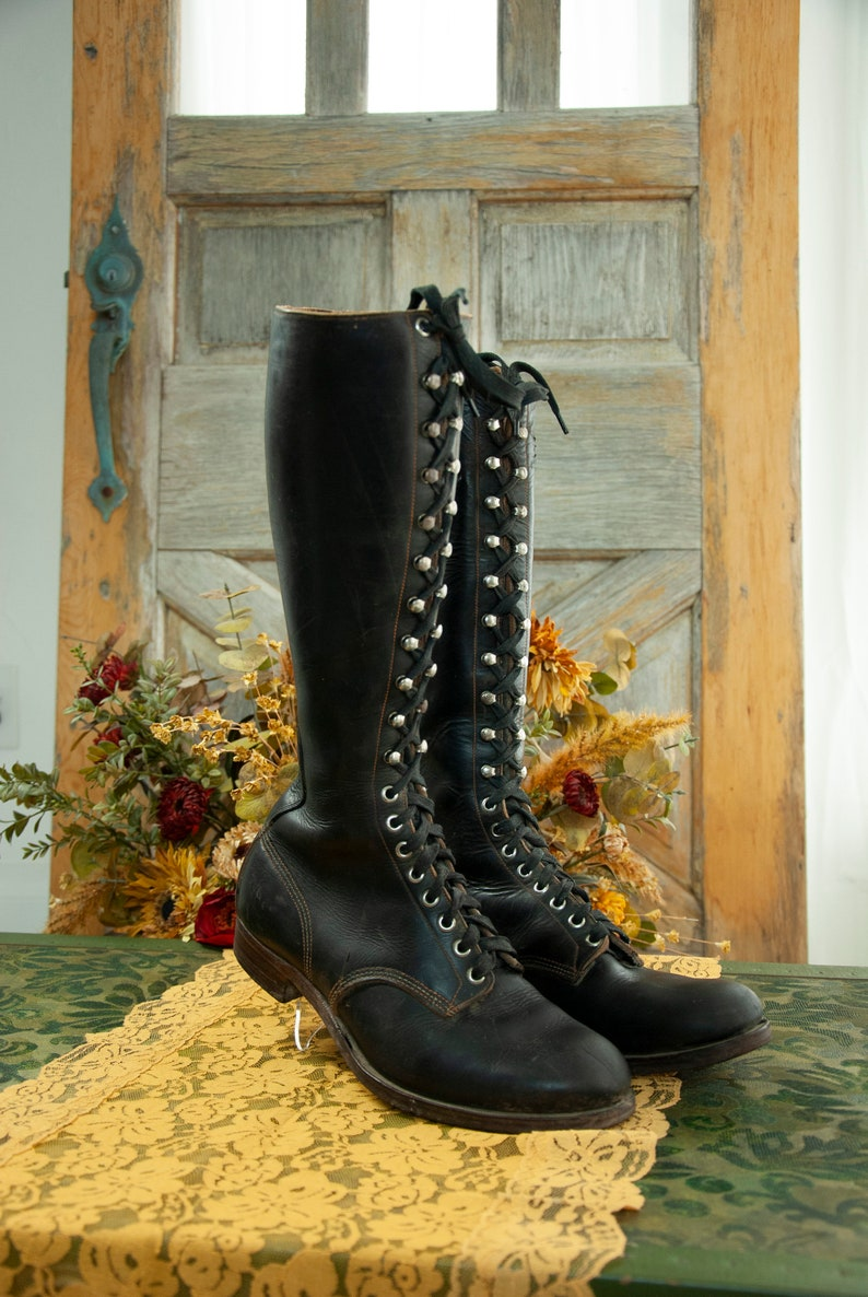 Tall black Victorian boots men's genuine leather lace up image 0