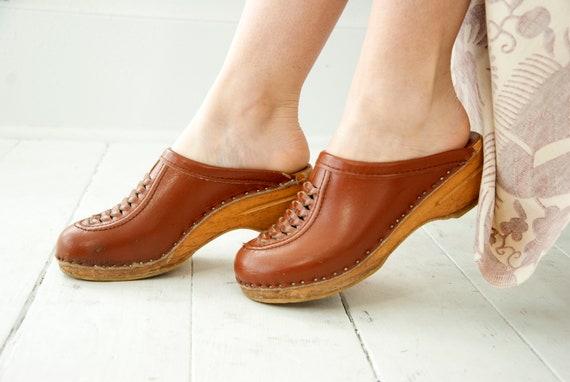 Vintage brown wooden clogs, leather wood slip-on s