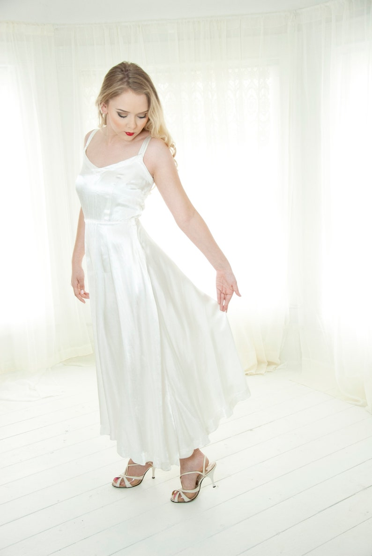 Vintage 1940s white satin slip dress sleeveless full bias-cut image 0