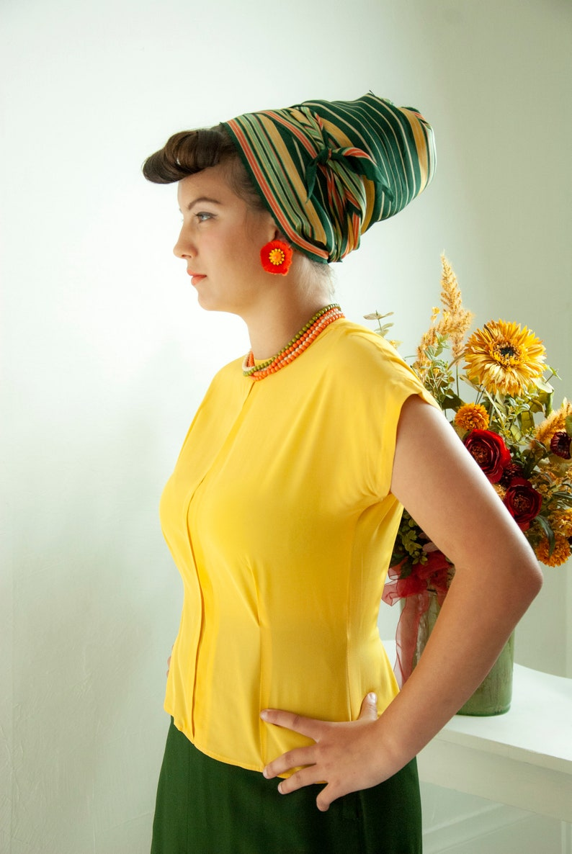 Vintage 1940s mustard blouse short sleeve rayon shirt top image 0