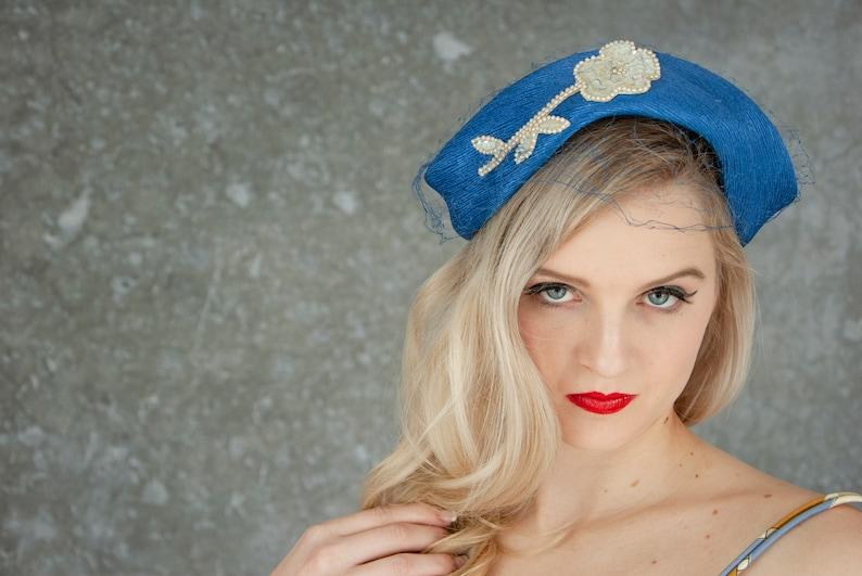 Vintage 1950s blue formal hat white beaded flower sequins image 0