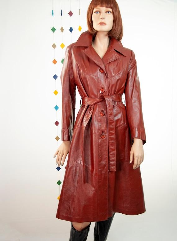 rust leather maxi coat 70s retro vintage long boho duster jacket trench M