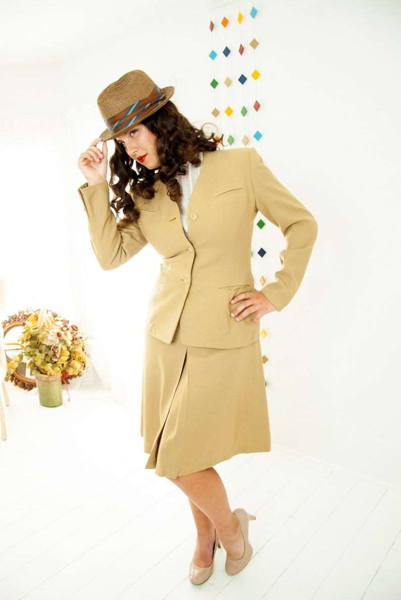 Vintage 1940s tan suit two piece blazer high waist skirt image 0