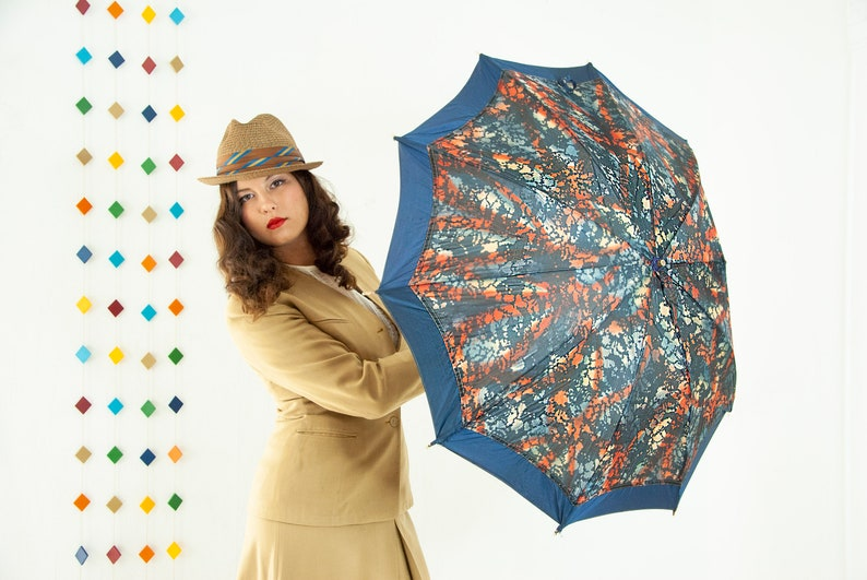 Vintage 1940s abstract umbrella navy blue maroon burnt orange image 0