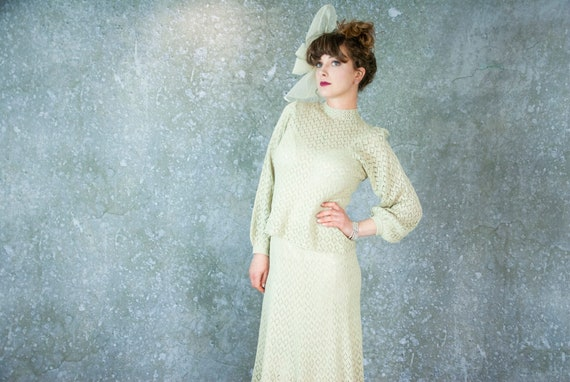 Vintage ecru knit dress set, 1930s style two-piece