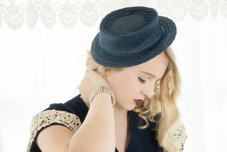 Vintage 1940s navy hat 18e4e76a33a