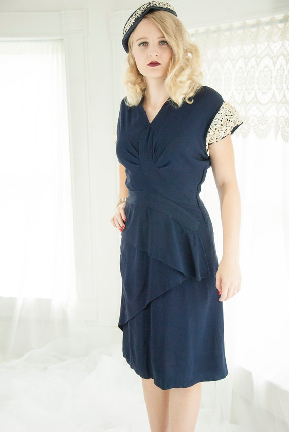 Vintage 1940s Navy Blue Dress White Lace Cap Sleeve Nautical Etsy