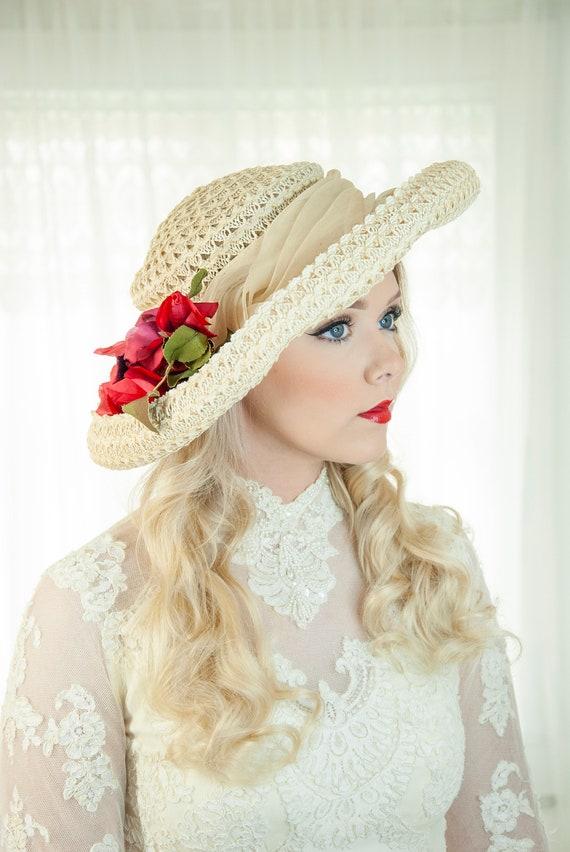 Vintage 1950s ivory sun hat, large Edwardian style