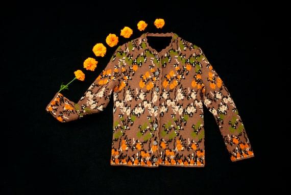 RESERVED Vintage floral sweater, brown orange whit
