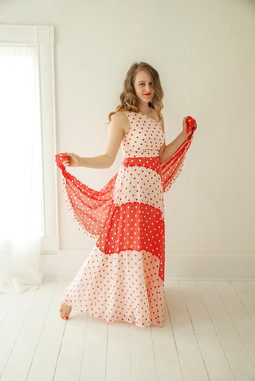 ff6765f28ed Vintage red maxi dress shawl set off-shoulder white halter