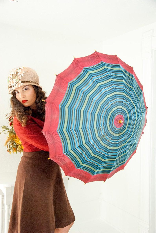 Vintage 1940s blue striped umbrella navy green maroon image 0