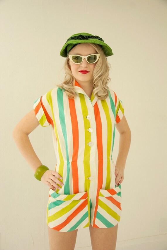 Vintage 80s 1980s  shorts romper  jumpsuit  seersucker stripe  salmon  toddler girl  summer beach sunsuit playsuit