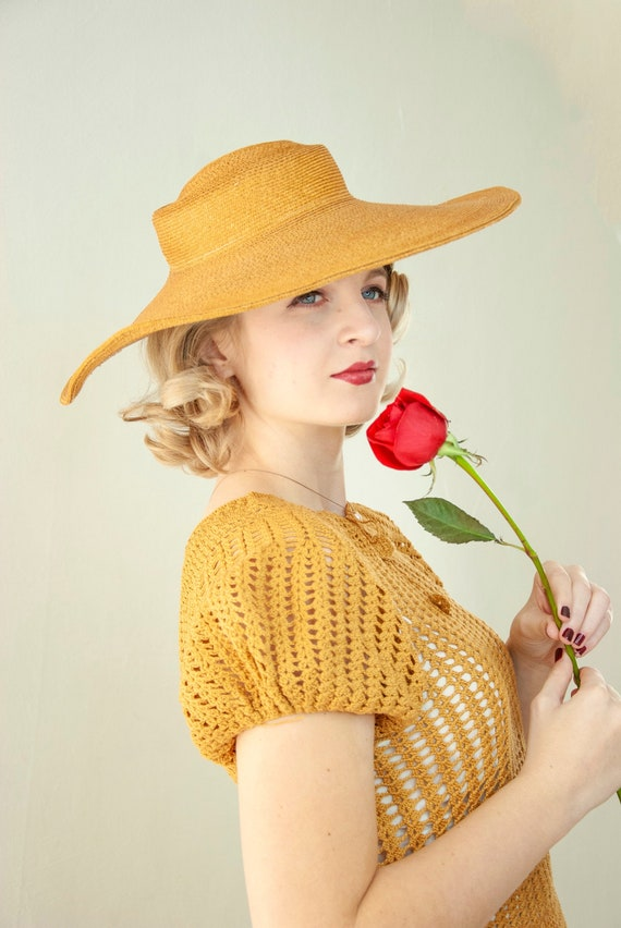 Vintage 1930s straw sun hat, woven natural wheat … - image 5