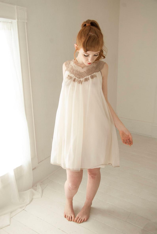 154885ee22 Vintage 1950s white nightie dress sheer chiffon sleeveless