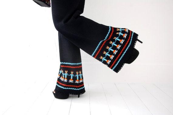 Vintage black knit pantsuit set, bellbottoms pant… - image 1