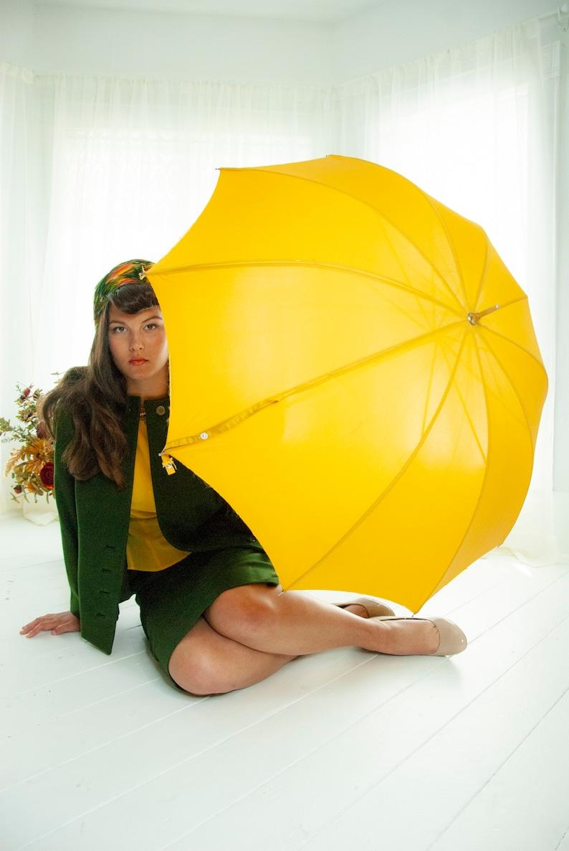 Vintage mustard umbrella solid yellow gold goldenrod green image 0