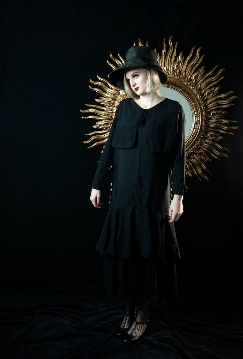 Vintage 1920s black dress long sleeve flapper art deco image 0