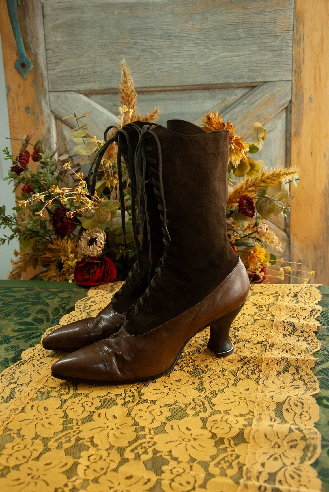 Vintage brown Victorian boots, tone-tone dark suede, patent leather lace up antique 1800s steampunk granny 6