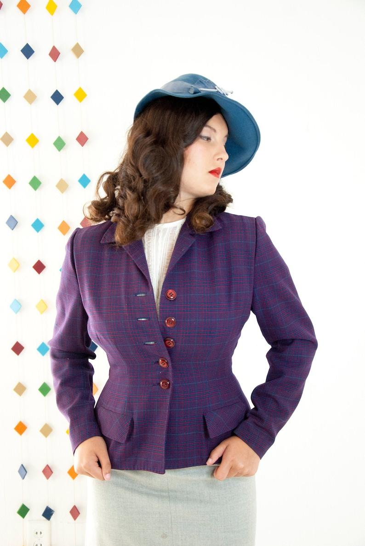 Vintage 1940s purple jacket wool suit blazer red plaid image 0