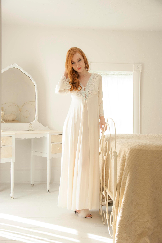 Vintage white nightie set, ivory long bell sleeves, full-length two ...