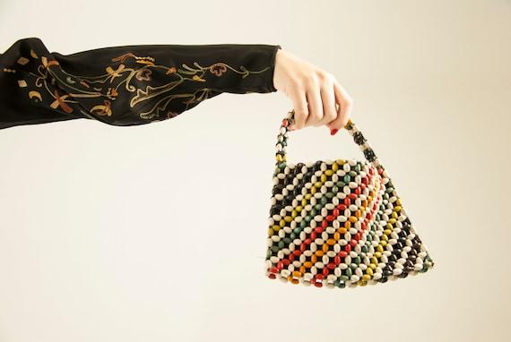 Vintage 1930s beaded handbag purse, rainbow chartr