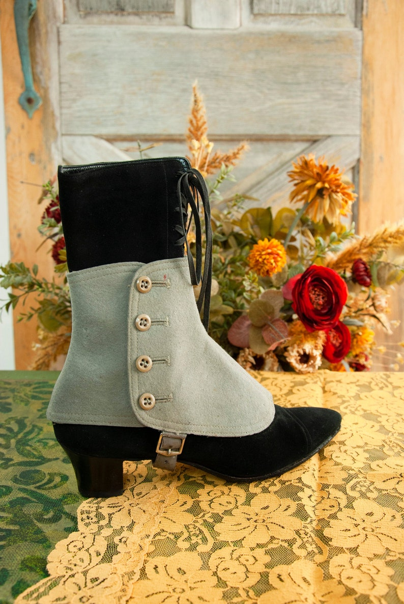 Antique Victorian gray wool spats shoe boot ankle covers image 0