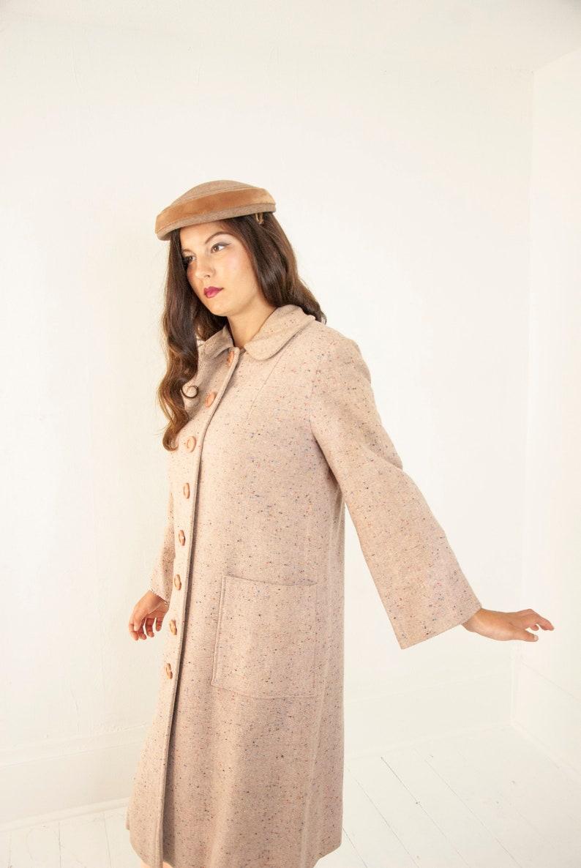 Vintage 1950s tan coat beige flecked wool long jacket long image 0