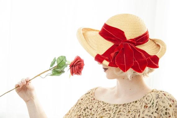 Vintage 1930s straw sun hat, red velvet ribbon, w… - image 6