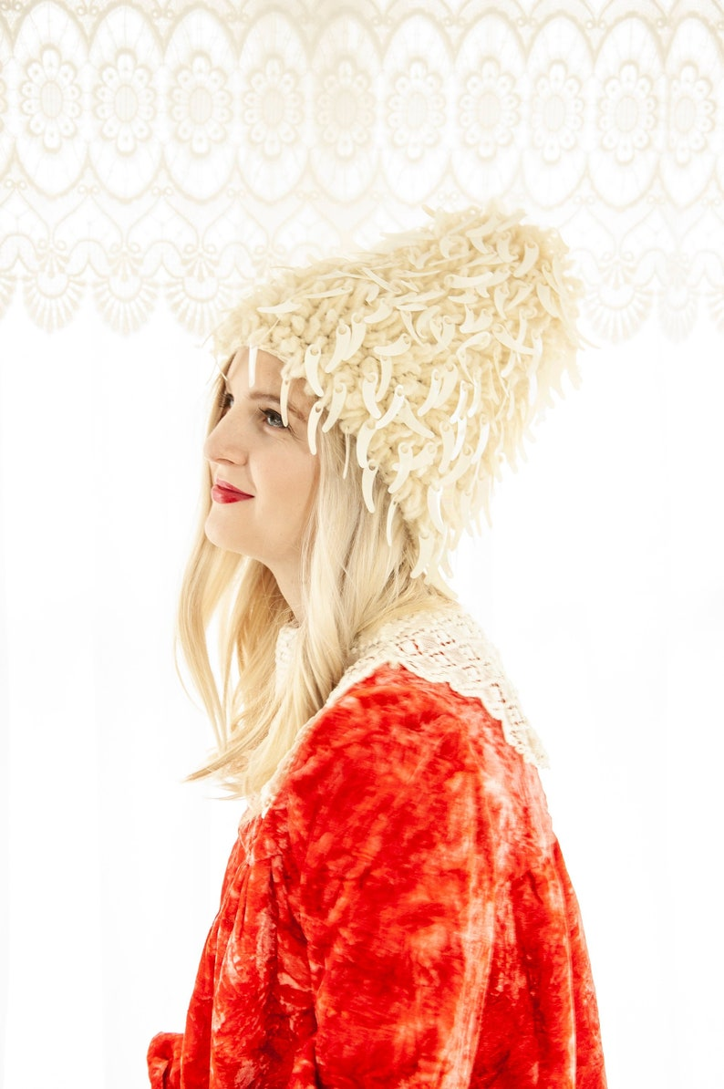 Vintage 1960s white stocking hat embellished iridescent image 0