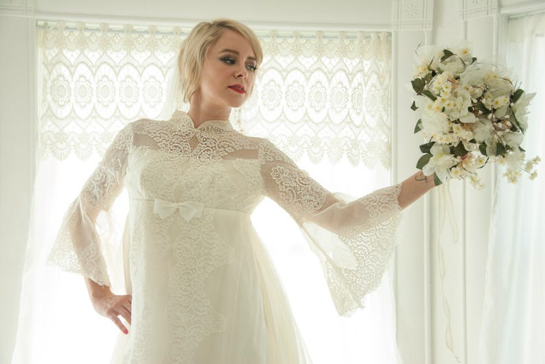 Vintage Bell Sleeve Wedding Dress