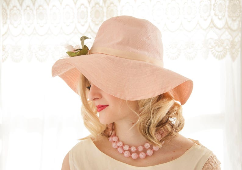 518b9f38b Vintage floppy pink sun hat, white rose floral flower, cotton brimmed  sunhat, pin-up formal summer Easter 1950s