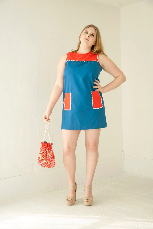 3a323db68594 Vintage color block mini dress blue red white sleeveless | Etsy