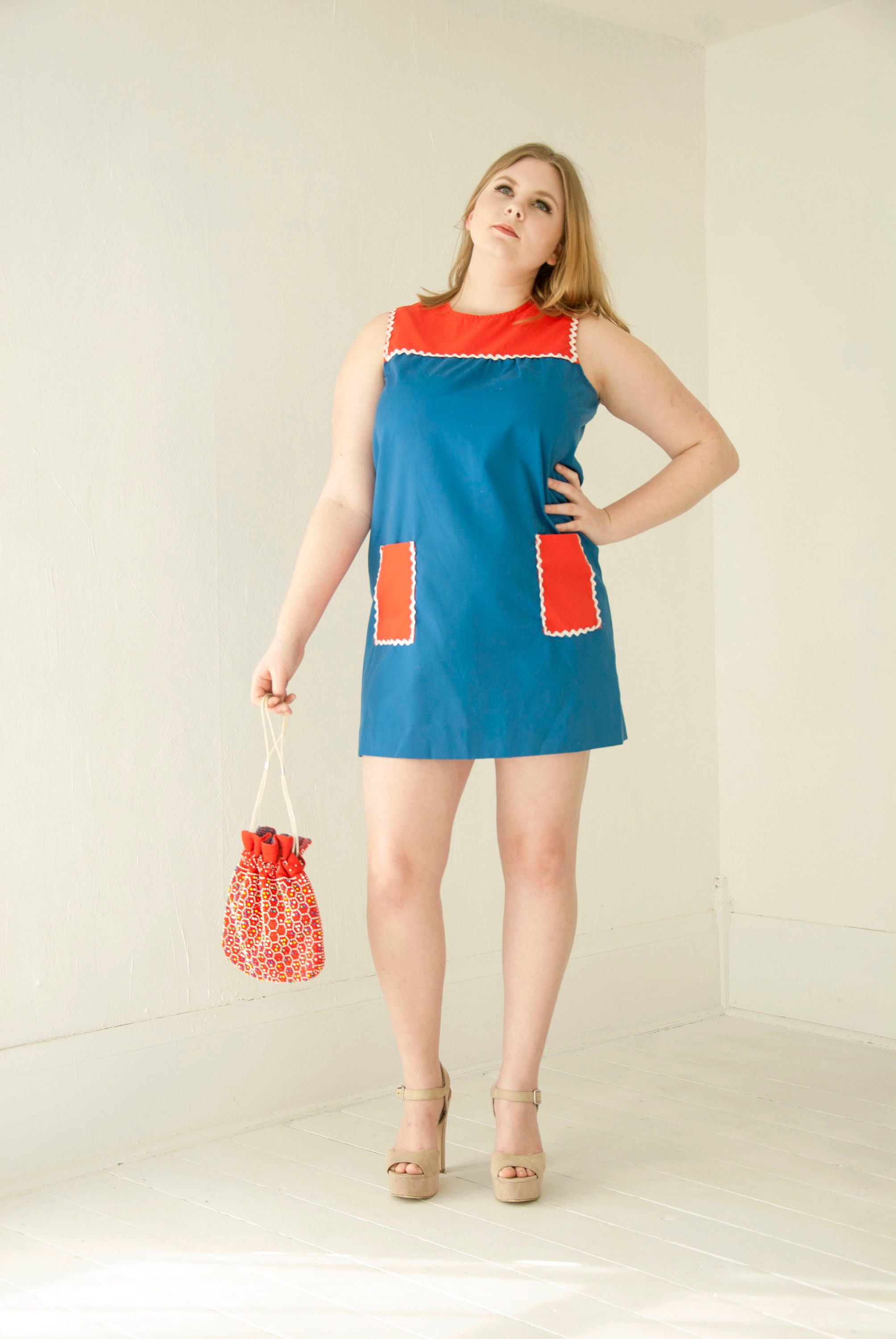 Vintage color block mini dress, blue red white sleeveless, pockets ...