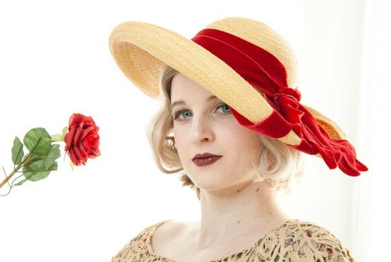 Vintage 1930s straw sun hat, red velvet ribbon, w… - image 2