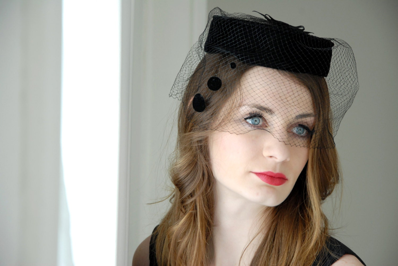 RESERVED Vintage black pillbox hat 05397b7d056