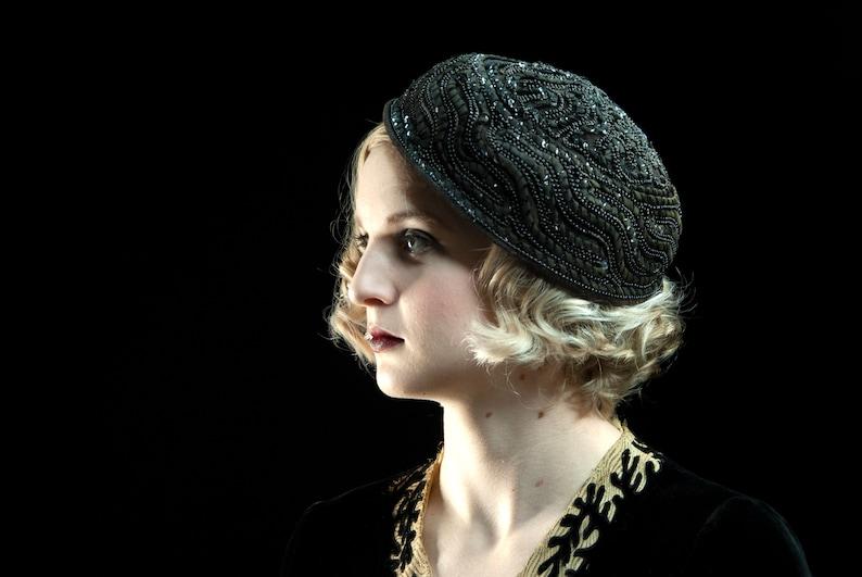 Vintage 1920s black embellished hat beading sequins beaded image 0