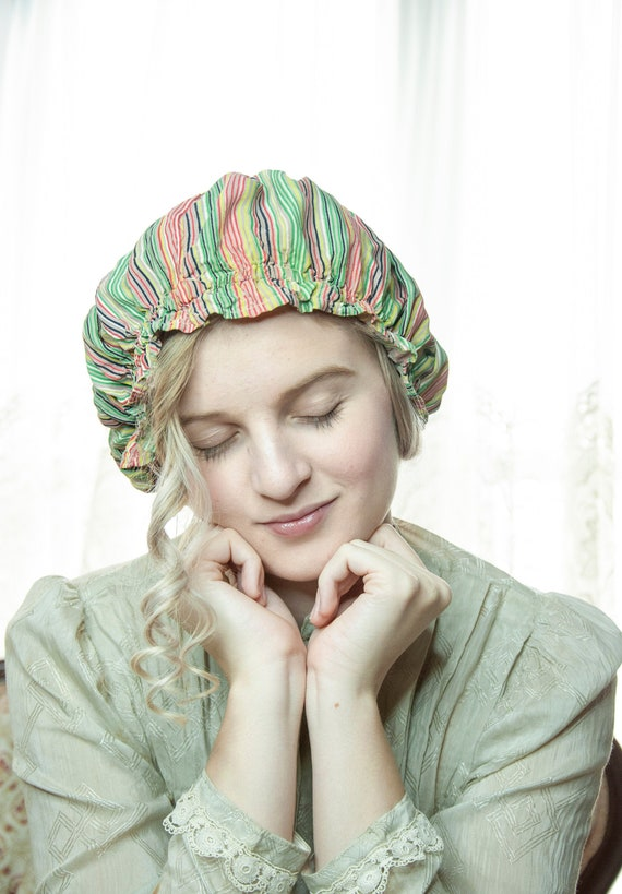 Vintage 1930s striped sleep cap, green red yellow